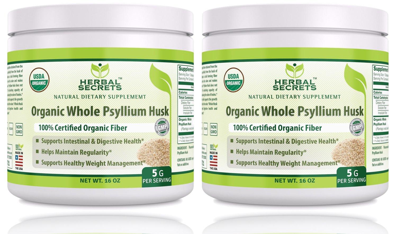 Herbal Secrets USDA Certified Organic Psyllium Husk 16 Oz - Vegan, dairy free, GMO free, gluten free, no sugar, (Pack of 2)