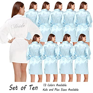 Women s Color Butyl Robes Set of 10 for Wedding Party Gifts with hot  Drilling Bride and 9082baa85