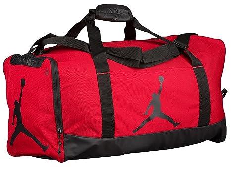 738a020a7db6 Nike Air Jordan Jumpman Duffel Sports Gym Bag Red Black 8A1913 Wet Dry Shoe  Pocket Water Resistant  Amazon.in  Sports