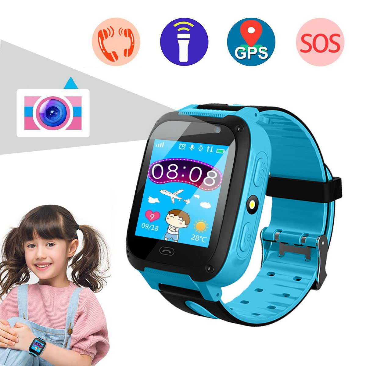 Smart Watch for Kids, Kids Phone Watch with Camera, Qilampe GPS Tracker Game Watch Support Calls Touchscreen Anti-lost SOS Bracelet Children Holiday Birthday Gifts(SIM Card Not Included) by Qilampe
