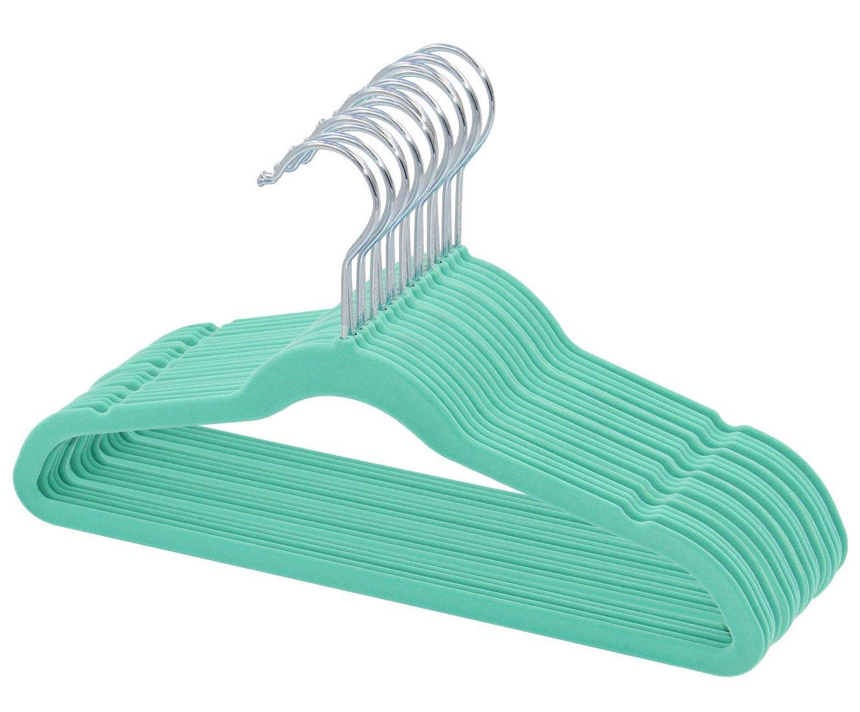 Mint Green Kids Velvet Hangers Non Slip Space Saver 30 Pack