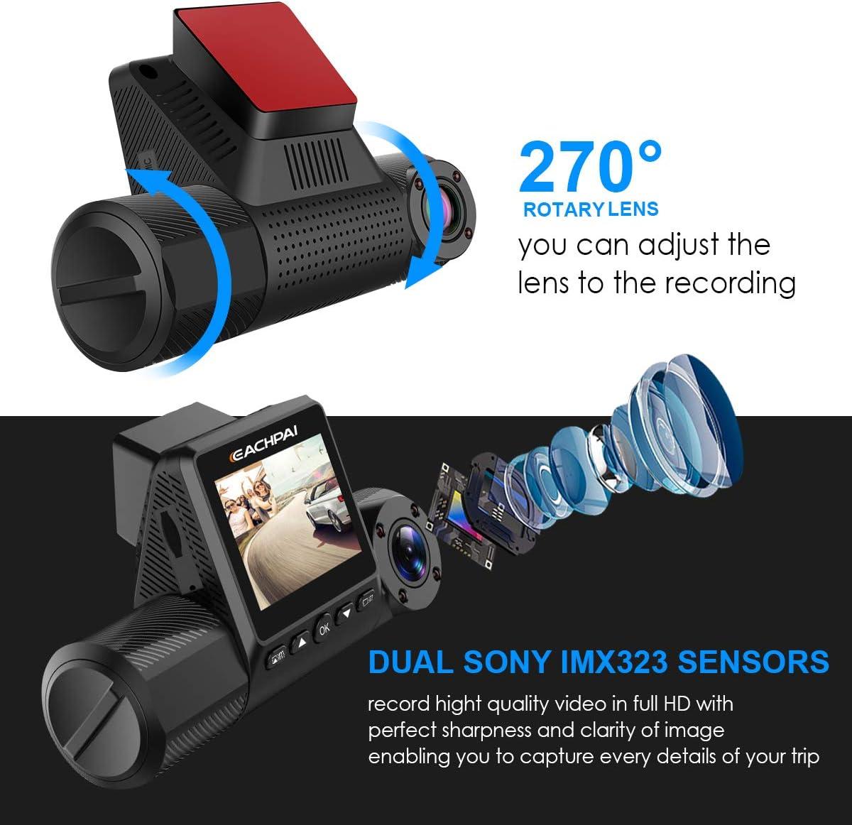 Loop Recording IR Night Vision Motion Detection,Super Capacitor EACHPAI X200 Dash Camera for Cars 2 FHD 1080P Dashboard Camera 270/° Rotation with Sony Sensor Dual Dash Cam
