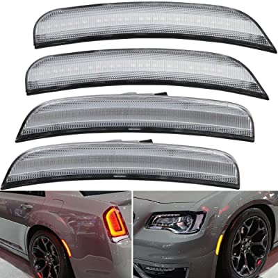 Clear Lens Amber/Red Full LED Front Rear Side Marker Light Kits for Chrysler 300 2015 2016 2020 2020 2020 LED Turn Singal Lights Powered by Total 180-SMD LED, Replace OEM Sidemarker Lamps: Automotive