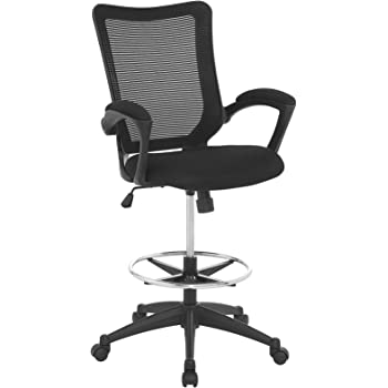 Modway Project Drafting Chair In Black   Reception Desk Chair   Tall Office  Chair For Adjustable