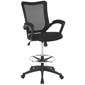 Modway Project Drafting Chair In Black - Reception Desk Chair - Tall Office Chair For Adjustable Standing Desks - Counter Height Drafting Table Chair