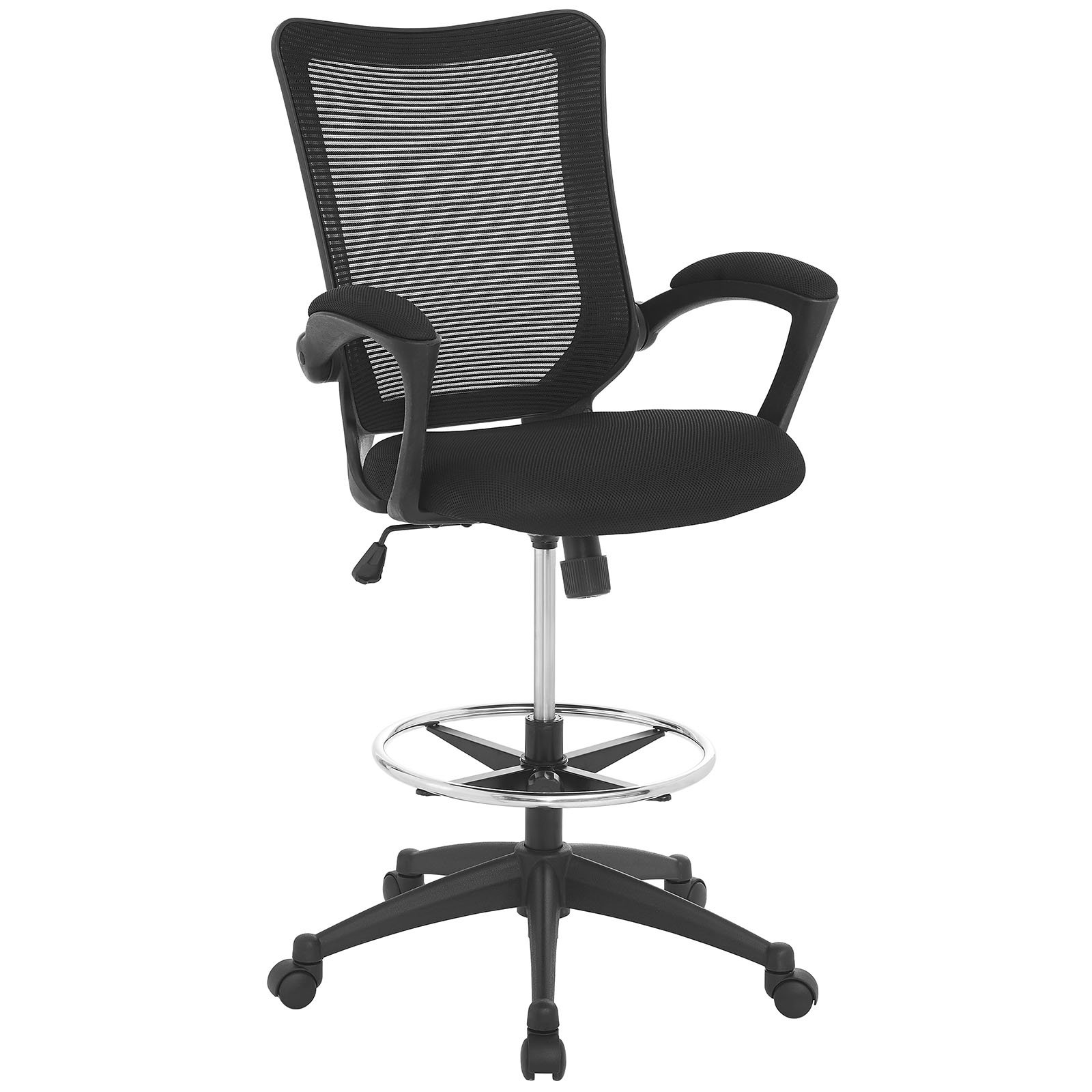 Modway Project Drafting Chair In Black - Reception Desk Chair - Tall Office Chair For Adjustable Standing Desks - Counter Height Drafting Table Chair…