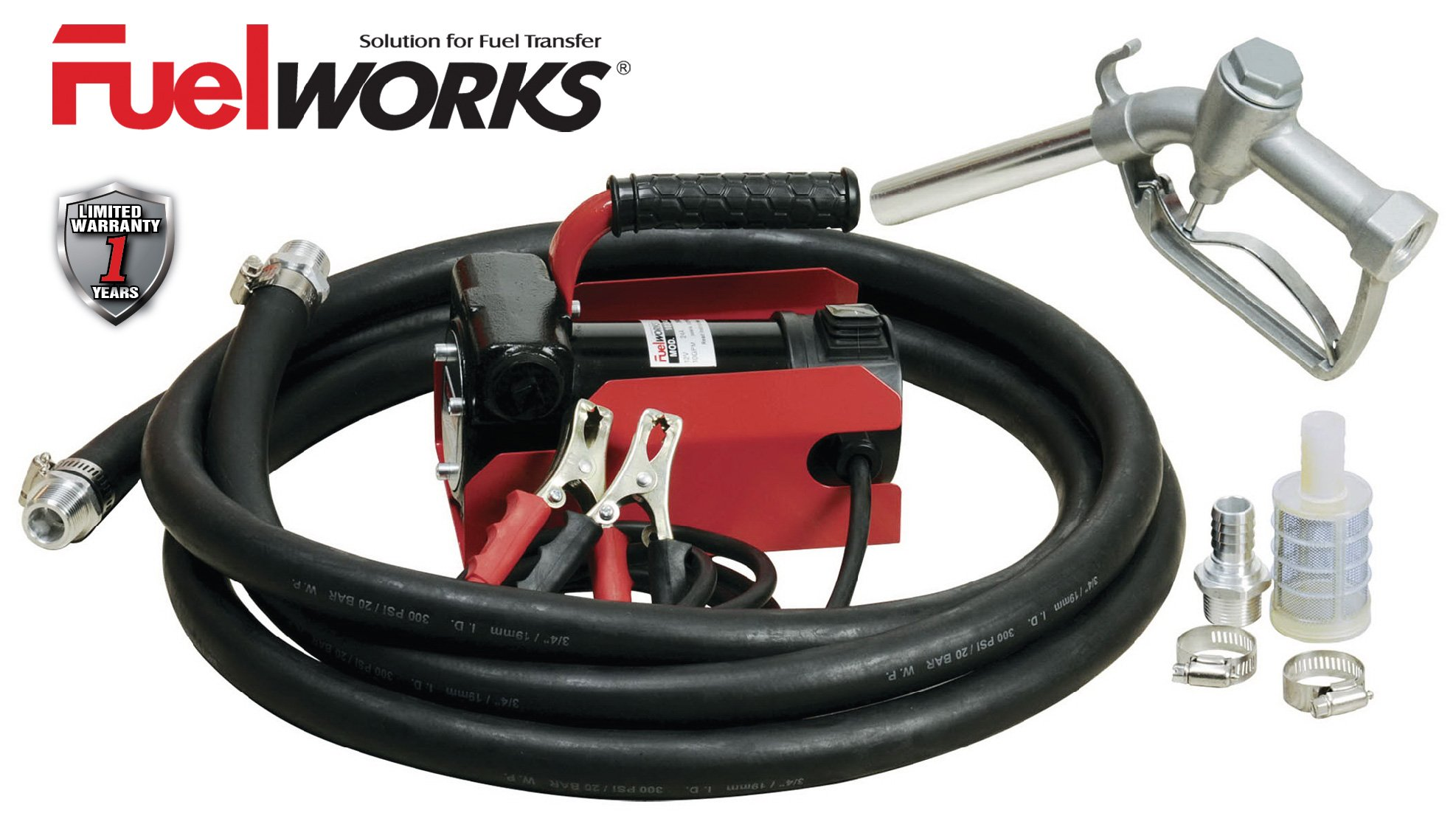 FUELWORKS Electric Diesel Fuel Transfer Pump Kit, 12 Volts & 10 GPM; NOT For Gasoline