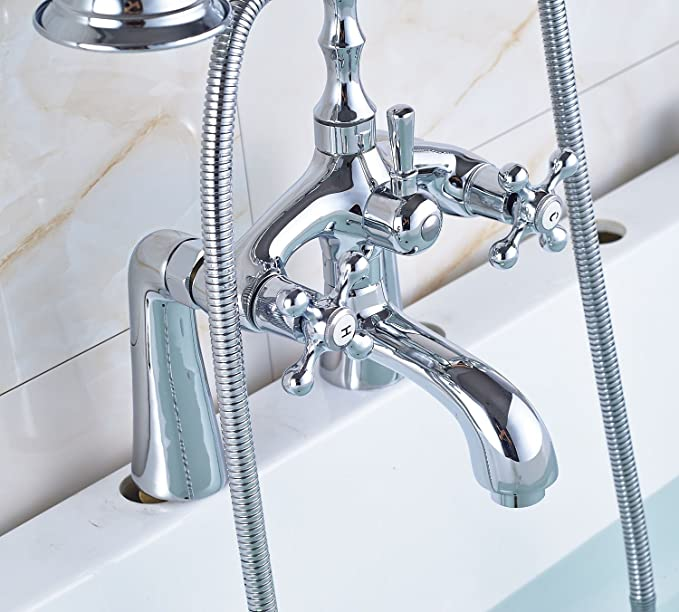 Oulantron Surface Mounted Bathtub Filler Faucet Mixer Tap with Hand ...
