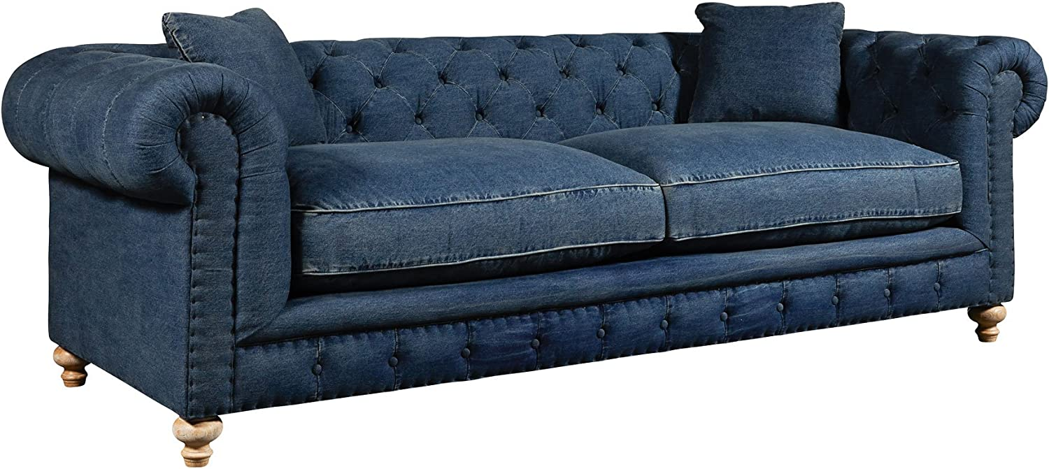 Amazon.com: Club Furniture Armstrong Denim Blue Jeans Tufted ...