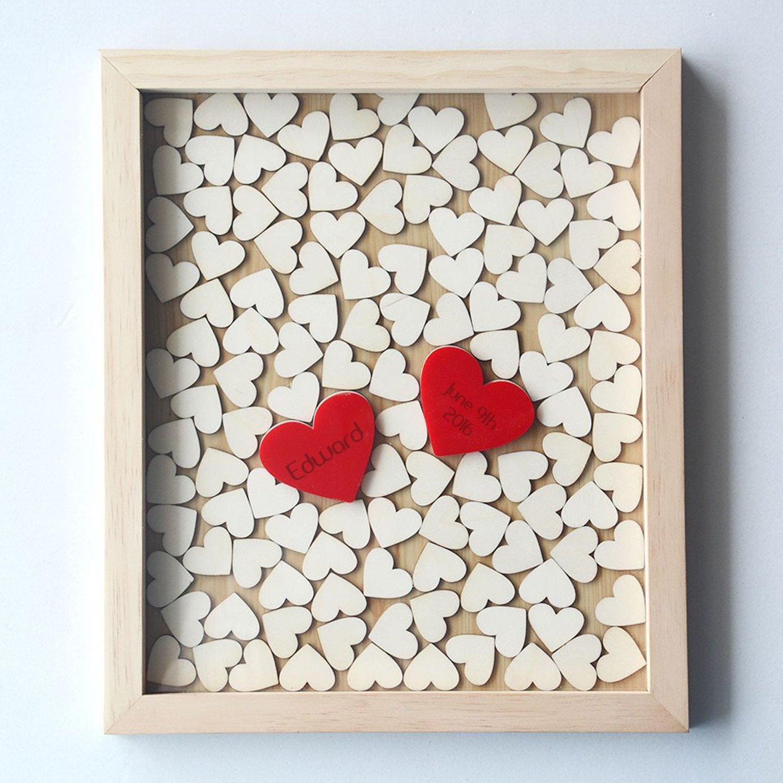 Susie85Electra Personalized Wedding Guest Book Heart Drop Box,Wedding Guest Book Alternative Rustic Wood,Wedding Guestbook Signature,Wedding Decor 30x35cm