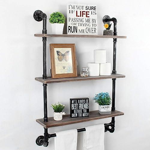 Bathroom Shelf with Towel Bar,28 Industrial Pipe Shelf,Rustic Wall Shelf,Towel Racks for Bathroom,3 Tier Pipe Shelves Wood Shelf Shelving