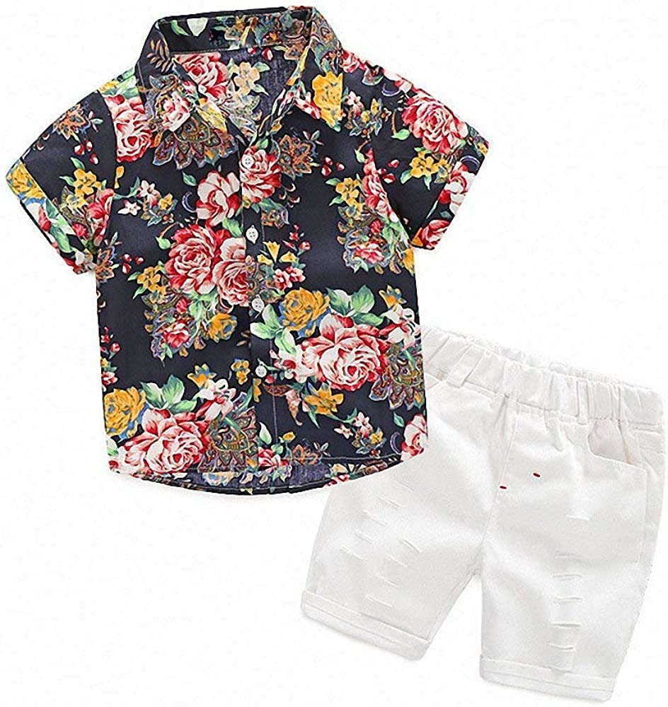AYIYO Summer Baby Boys Outfits Short Sleeve Onesies Button-Down Gentleman Hawaiian Shirt Romper 0-2Y