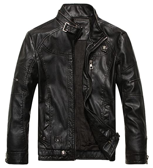 1950s Men's Clothing chouyatou Mens Vintage Stand Collar Pu Leather Jacket $59.01 AT vintagedancer.com