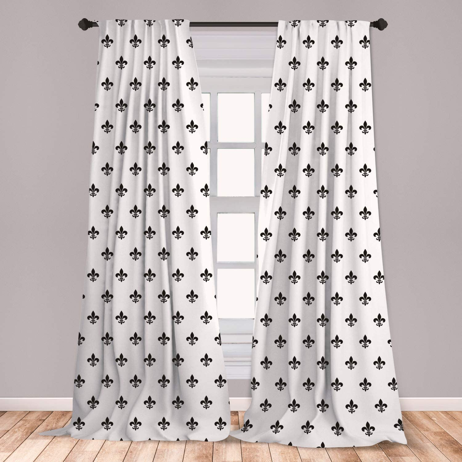 Ambesonne Fleur De Lis 2 Panel Curtain Set, Pointed Leaves with Monochrome Design Abstract Classical Ornamental Pattern, Lightweight Window Treatment Living Room Bedroom Decor, 56