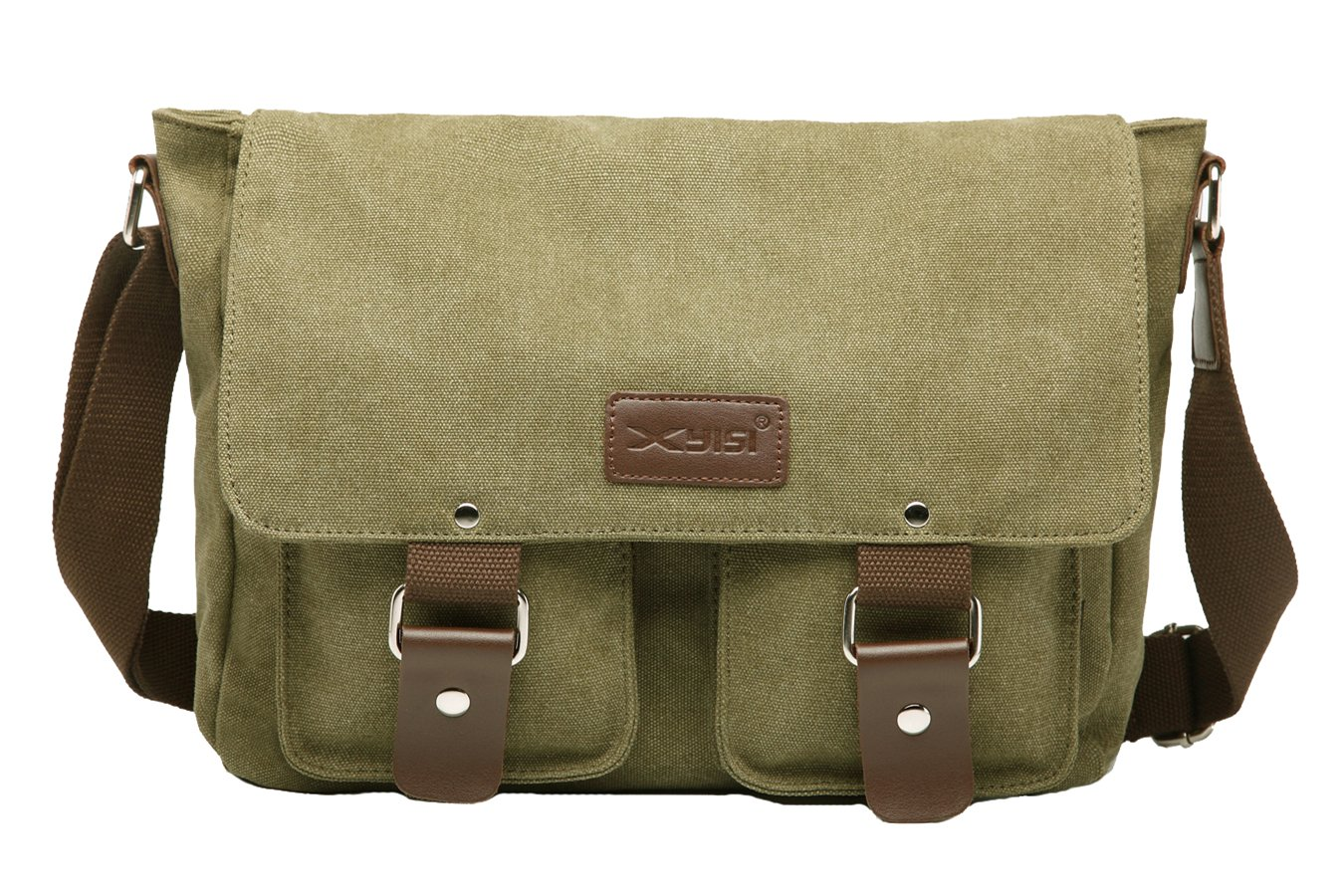 ALOVEY Canvas Satchel Laptop Messenger Bag Travel School Crossbody Shoulder Bags Green