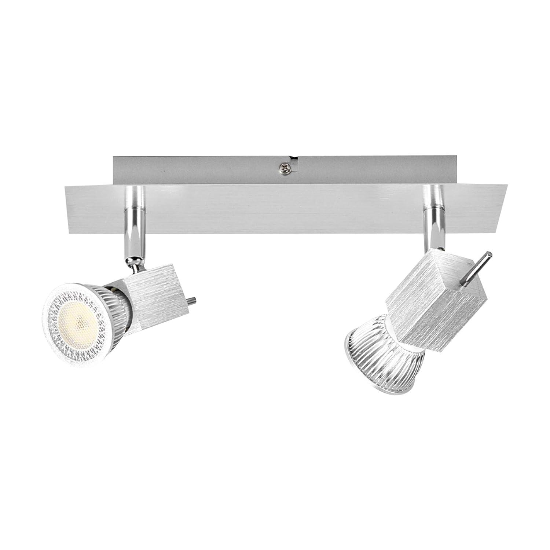 Lampenwelt LED Strahler, Spot Sevina (Modern) in Alu aus Aluminium u.a. für Wohnzimmer & Esszimmer (2 flammig, GU10, A++) | Einbauleuchte, Deckenleuchte, Wandleuchte, Deckenlampe, Lampe, Wohnzimmerlampe [Energieklasse A++]