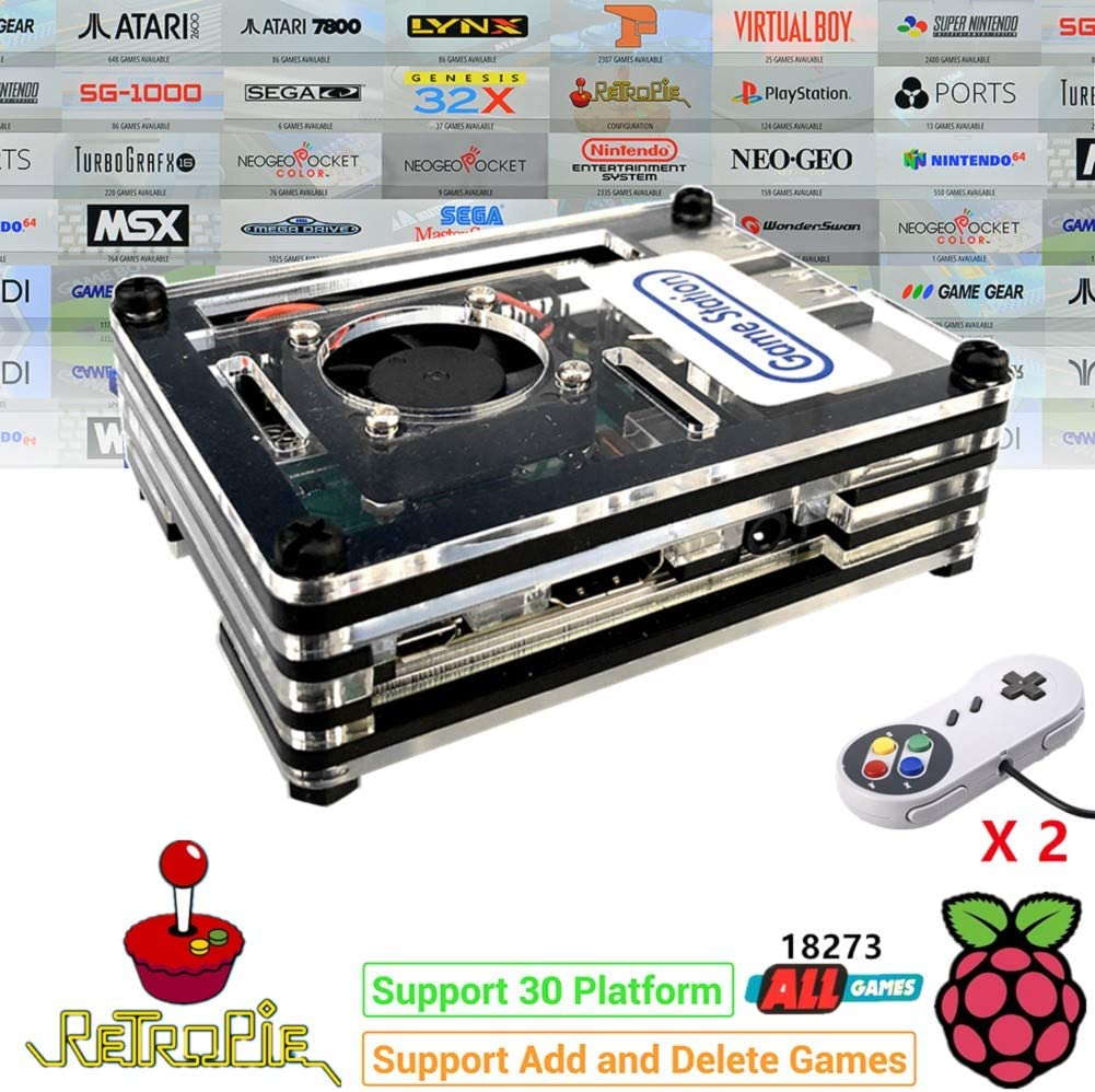 TAPDRA RetroPie Arcade Video Game Station with 18273 Games, Rasperry Pi 3B+ Support Add and Delete Games, 128GB Fast Card Gaming Kit, Plug and Play, HDMI USB Port (2 Gamepad Included)