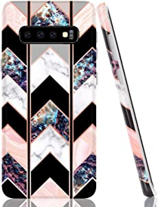 BAISRKE Marble Case for Galaxy S10 Plus, Shiny Rose Gold Lines Wave Geometric Design Case Slim Soft TPU Rubber Bumper Silicone Protective Phone Case Cover for Galaxy S10+ Plus 6.4 [Black]