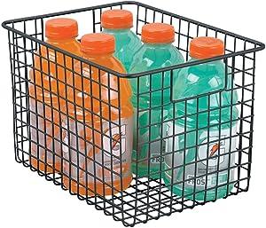 "mDesign Farmhouse Decor Metal Wire Food Storage Organizer, Bin Basket with Handles for Kitchen Cabinets, Pantry, Bathroom, Laundry Room, Closets, Garage - 12"" x 9"" x 8"" - Black"