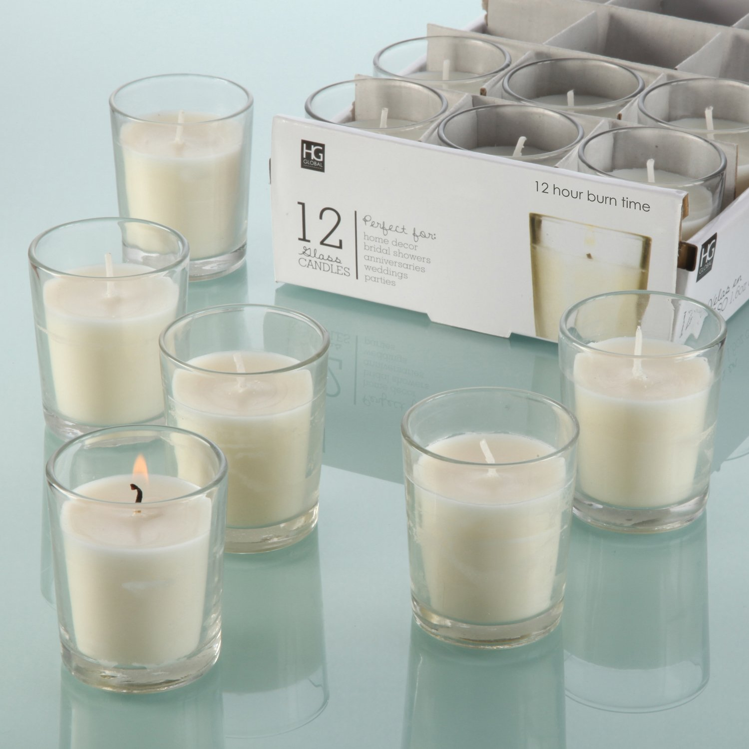 Hosley Set of 24 Unscented Clear Glass Wax Filled Votive Candles, Up to 12 Hour Burn Time. Glass Votive & Hand Poured Candle Included, Ideal for Aromatherapy, Weddings, Party Favors O1