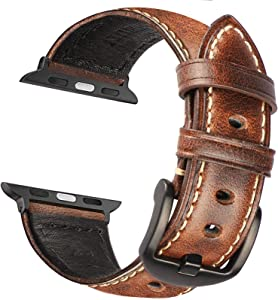 KAYSEUN Leather Bands Compatible Apple Watch SE 44mm 40mm 42mm 38mm iWatch Series 6/5/4/3/2/1 Retro Top Grain Leather Replacement Strap for Apple Watch (Coffee Brown, for iWatch 44mm/42mm)
