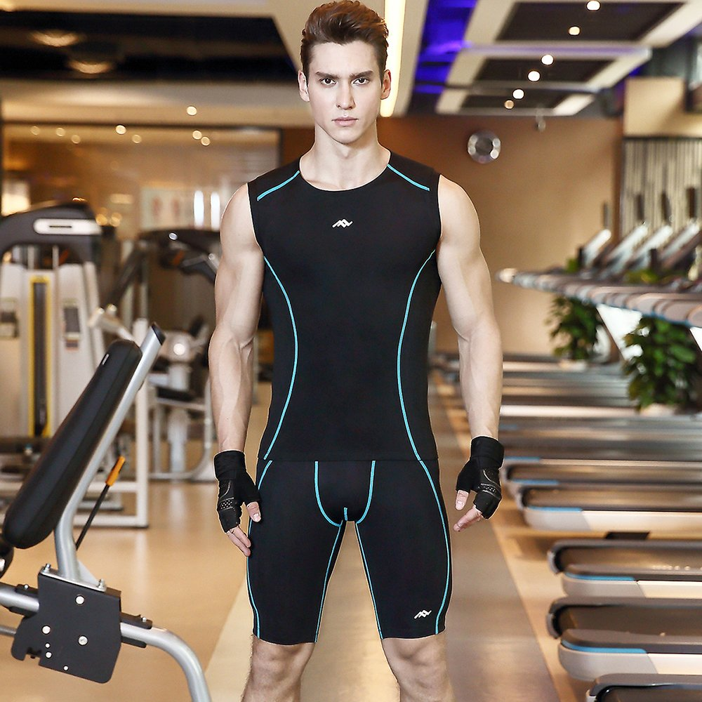 Lixada Mens Compression Sleeveless Muscle Tank+Shorts Baselayer Cool Dry Sports Workout Athletic Running Boxer Tights Set