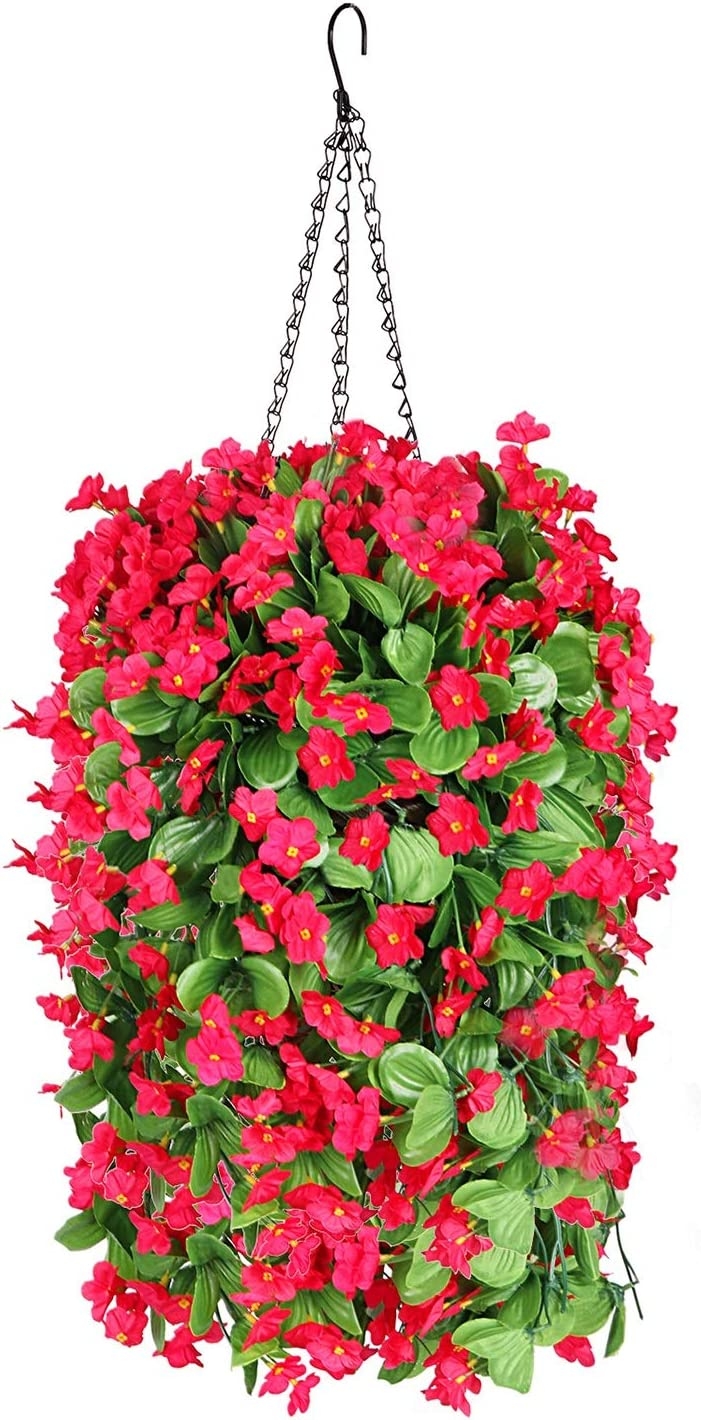 Fall Flower Centerpieces, Hanging Baskets with Artificial Flowers, Fake Silk Hanging Orchid Flowersin Baskets for The Decoration of Home Courtyard Indoor Outdoor Landscaping (Red)