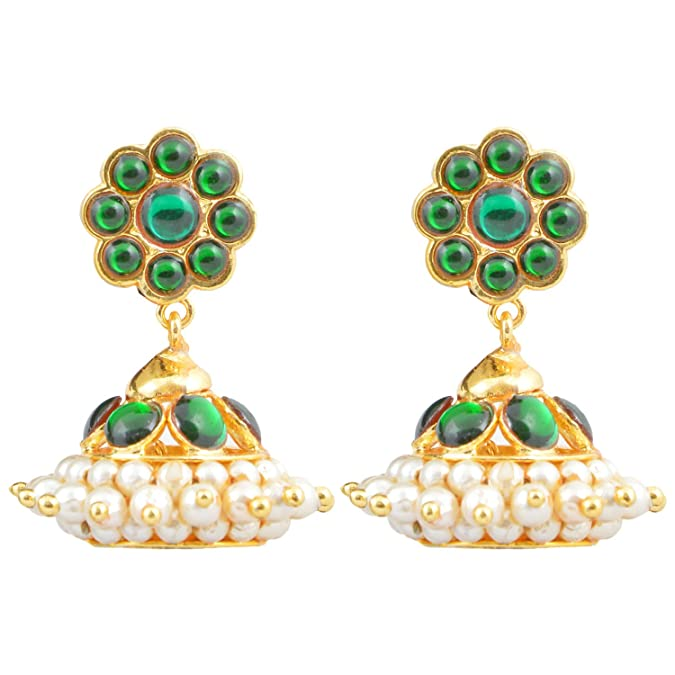 3fdc2fbd8 Buy Gold finish green kempu stones Jhumki (Small) Online at Low Prices in  India   Amazon Jewellery Store - Amazon.in