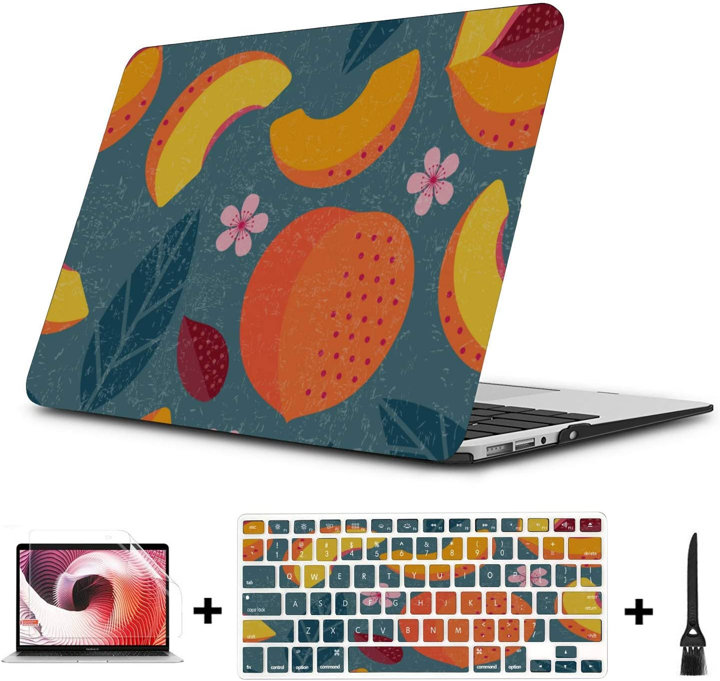 Mac Computer Cover Summer Pink Creative Fruit Peach Plastic Hard Shell Compatible Mac Air 11 Pro 13 15 15 Inch Laptop Case Protection for MacBook 2016-2019 Version