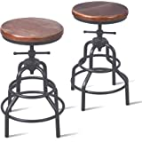 Topower American Antique Industrial Design Metal Adjustable Height Bar Stool Chair Kitchen Dining Breakfast Chair Natural Pin