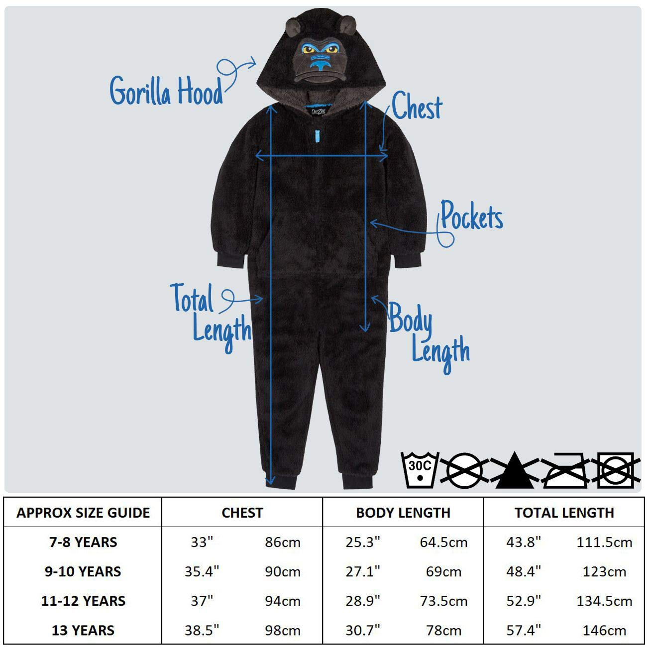 Metzuyan Boys Gorilla Snuggle Fleece Dressing Gown with Hood