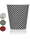 Quality Disposable Hot Coffee Insulated Cups By Golden Spoon 100 Pack Stylish Contemporary Ripple Design - Perfect For Coffee Shops And Bars (10 oz, Checkered Design)