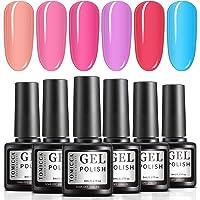 TOMICCA Rainbow Jelly Gel Nail Polish High Sheerness Soak Off UV LED Gel Nail Polish Set 6 Colours Manicure Pedicure…