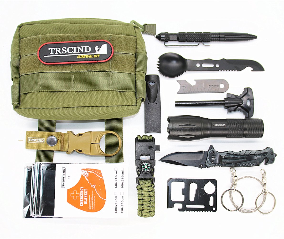 Survival Gear Kit - 11 in 1 Molle Pouch EDC Survival Bag, SOS Emergency Tool for Camping, Hiking, Trekking Wild Adventure Earthquake Mountaineering Birthday Graduation Fathers Day Gift for Men