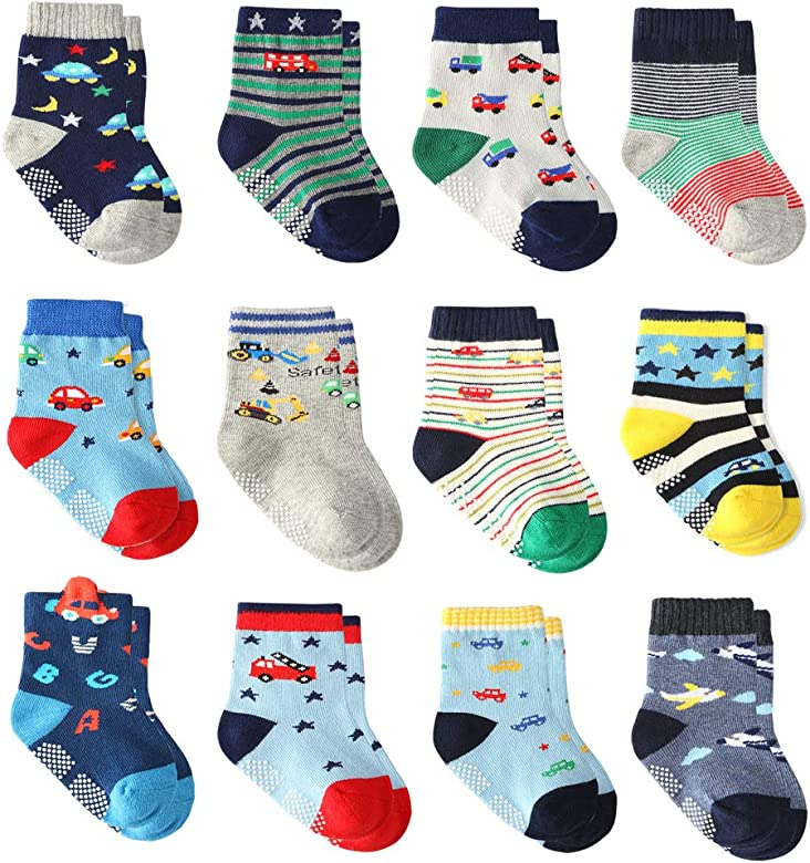 Baby Boys Anti-skid 12 Pairs Toddler Boy Non Skid Socks Cute Cotton with Grips