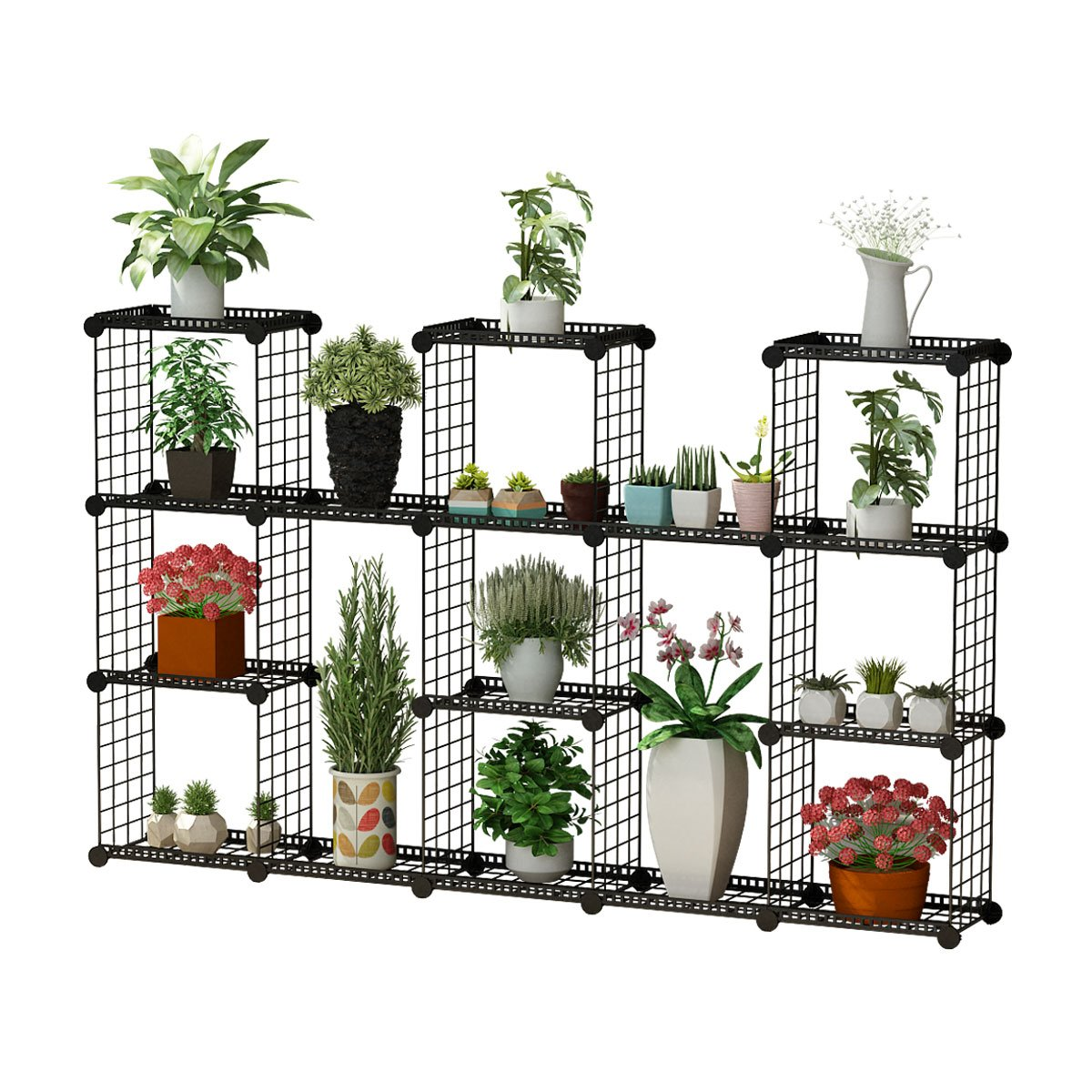 JYYG Portable Plant Stands Custom Shaped Succulents Pot Shelf Standing Baker's Racks for Flowers Metal Shelving Unit for Green House Indoor Outdoor Multifunction Storage Organizer, 11-Grid Black