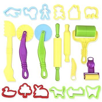 ROSENICE Kit de Herramientas de Masa Inteligente con Modelos y Moldes 20 Piezas (color aleatorio): Amazon.es: Juguetes y juegos