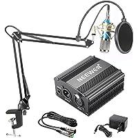 Neewer NW-800 Kit de Microphone à Condensateur - Micro Argenté, 48V Alimentation Fantôme Noir, NW-35 Boom Support de Bras avec AntiChoc et Filtre Pop, XLR Câble Mâle à Femelle pour Enregistrement