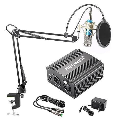 Neewer NW-800 Micrófono de Condensador Kit, Micrófono Plateado, Fuente de Alimentación Negra de 48V Phantom, Soporte de Brazo de Tijeras de Auge NW-35 ...