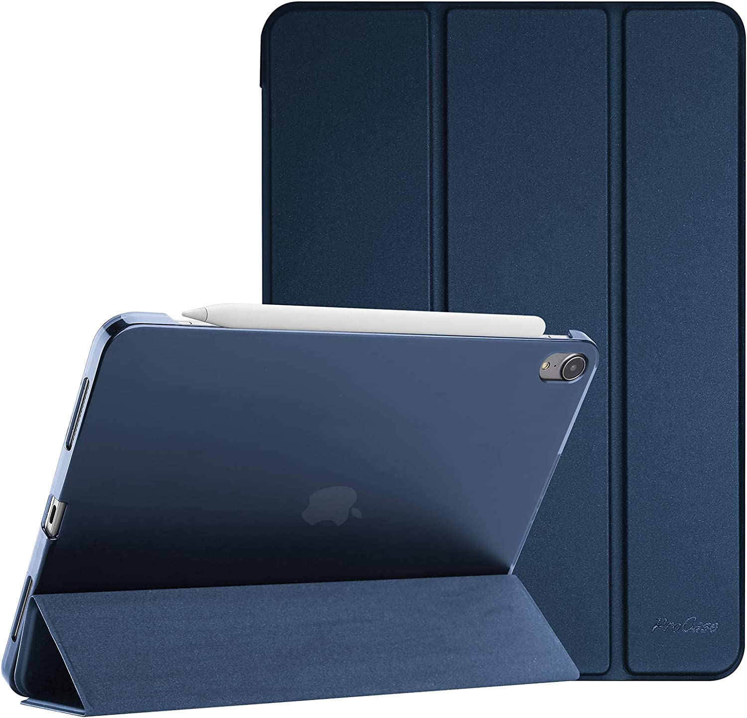 """ProCase iPad Air 4 Case 10.9 Inch 2020 iPad Air 4th Generation Case A2324 A2072 A2316 A2325, Slim Stand Hard Back Shell Protective Smart Cover Cases for iPad Air 10.9"""" 4th Gen 2020-Navy"""