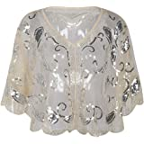 Kayamiya Women's Evening Shawl Wraps 1920s Sequin Beaded Cape Cover Up