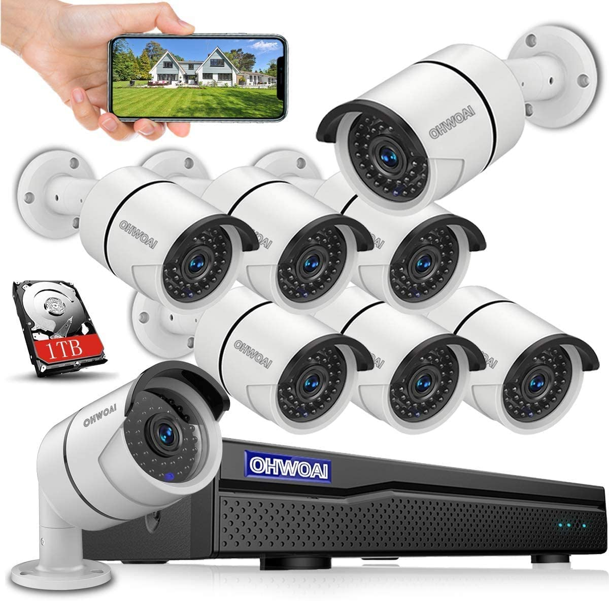 ?8CH 5MP DVR? Wired 8ch Home Security Camera Outdoor System with Hard Drive,DVR Video Surveillance Security Camera System,Surveillance DVR Kits,8pcs 1080p Security Camera Outdoor Wired,APP