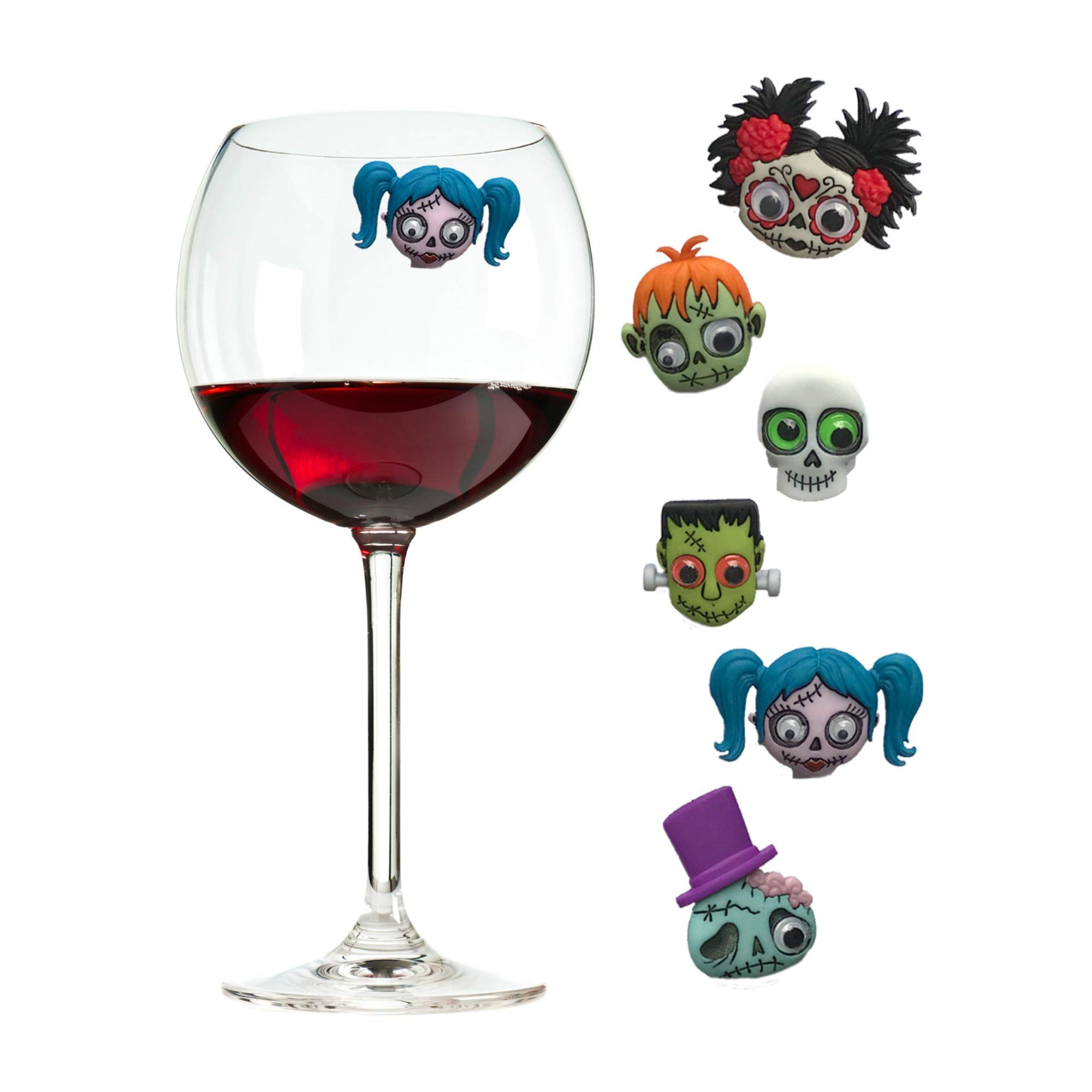 Zombie Wine Charms and Magnetic Glass Markers Fun Decor or Party Favors - Set of 6 by Simply Charmed