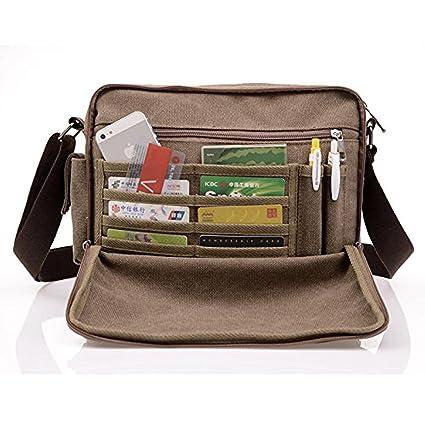 59d08ac6ae590 MeCool Borsello Uomo Borse a Tracolla di tela Vintage Spalla Viaggio  Sacchetto per Università l