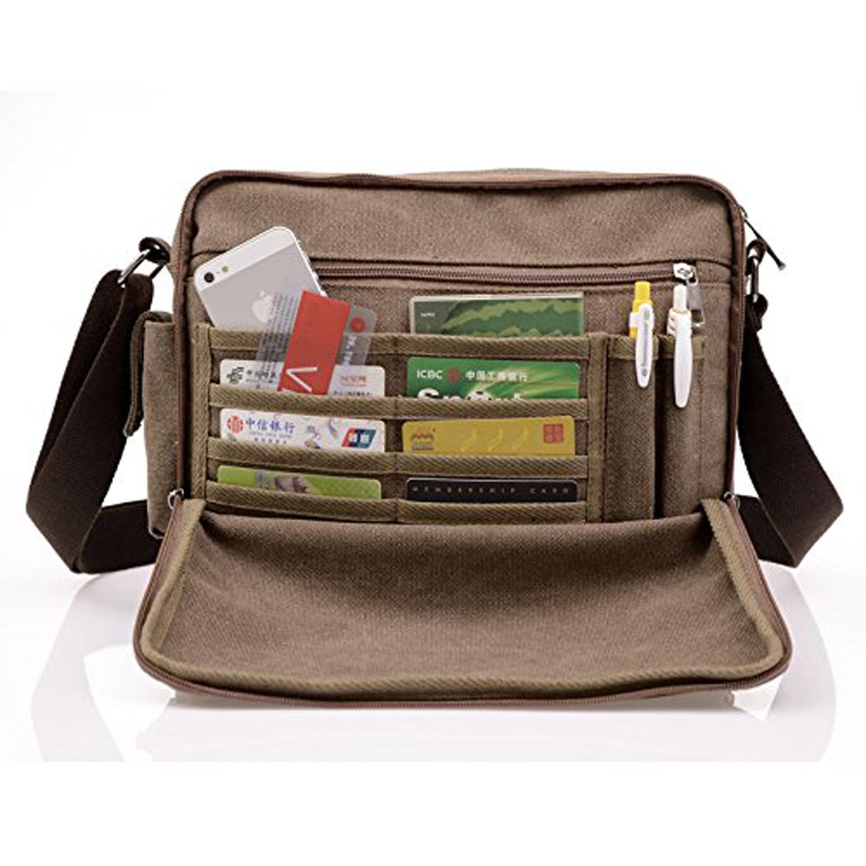 556a9cb13c MeCooler Men s Canvas Weekender Messenger Bag for Travel Crossbody Sports  Over Shoulder Vintage Military Overnight Casual