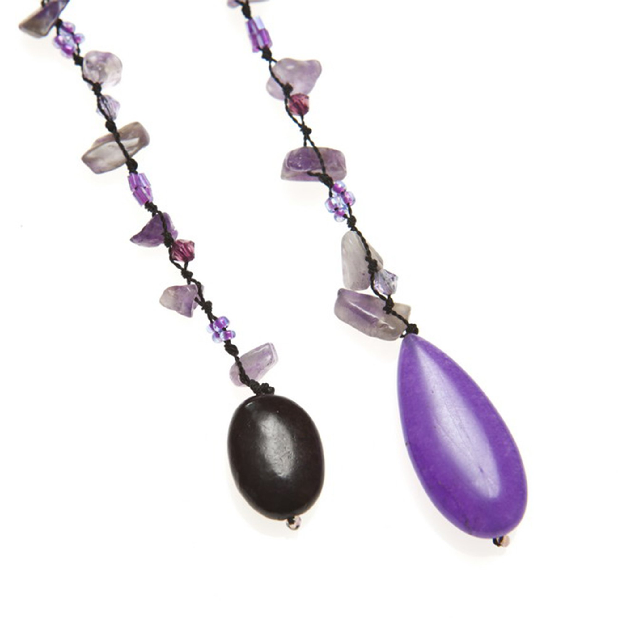 Sparkling Aura Simulated Amethyst & Reconstructed Agate Lariat Necklace by AeraVida (Image #1)