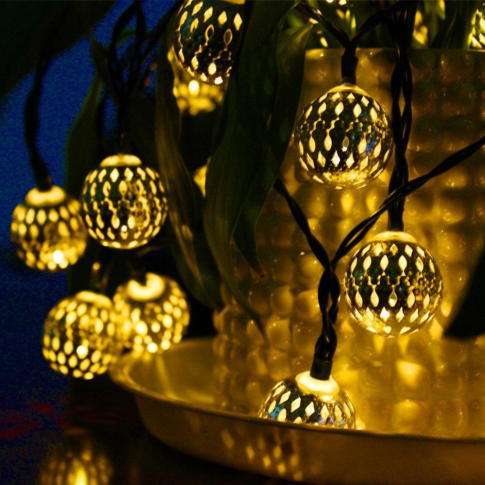 Globe String Lights, CMYK 20 Ft 40 Balls Waterproof LED Fairy Lights, Outdoor Starry Lights Solar Powered String Lights, Decorative Lighting for Home, Garden, Party, Festival, Warm White