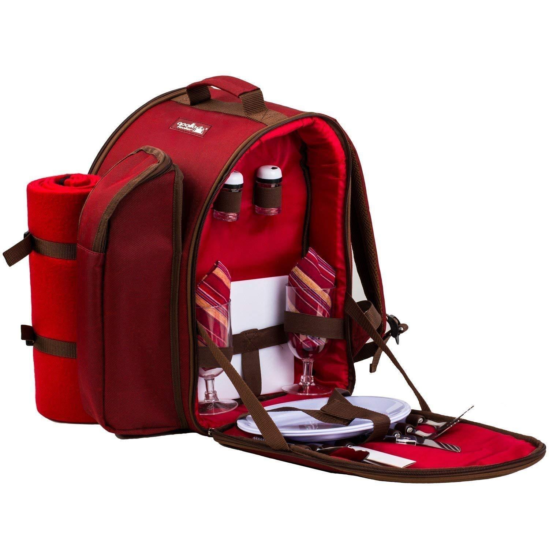 stoviglie e coperta in pile Apollowalker Set di attrezzatura da picnic per 2 persone con zaino da picnic colore rosso borsa termica