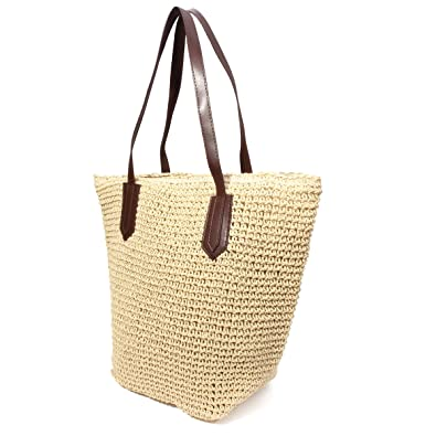 da16b7fd1769 Amazon.com  OURBAG Summer Straw Beach Bag Handbags Shoulder Bag Tote Beige   Shoes