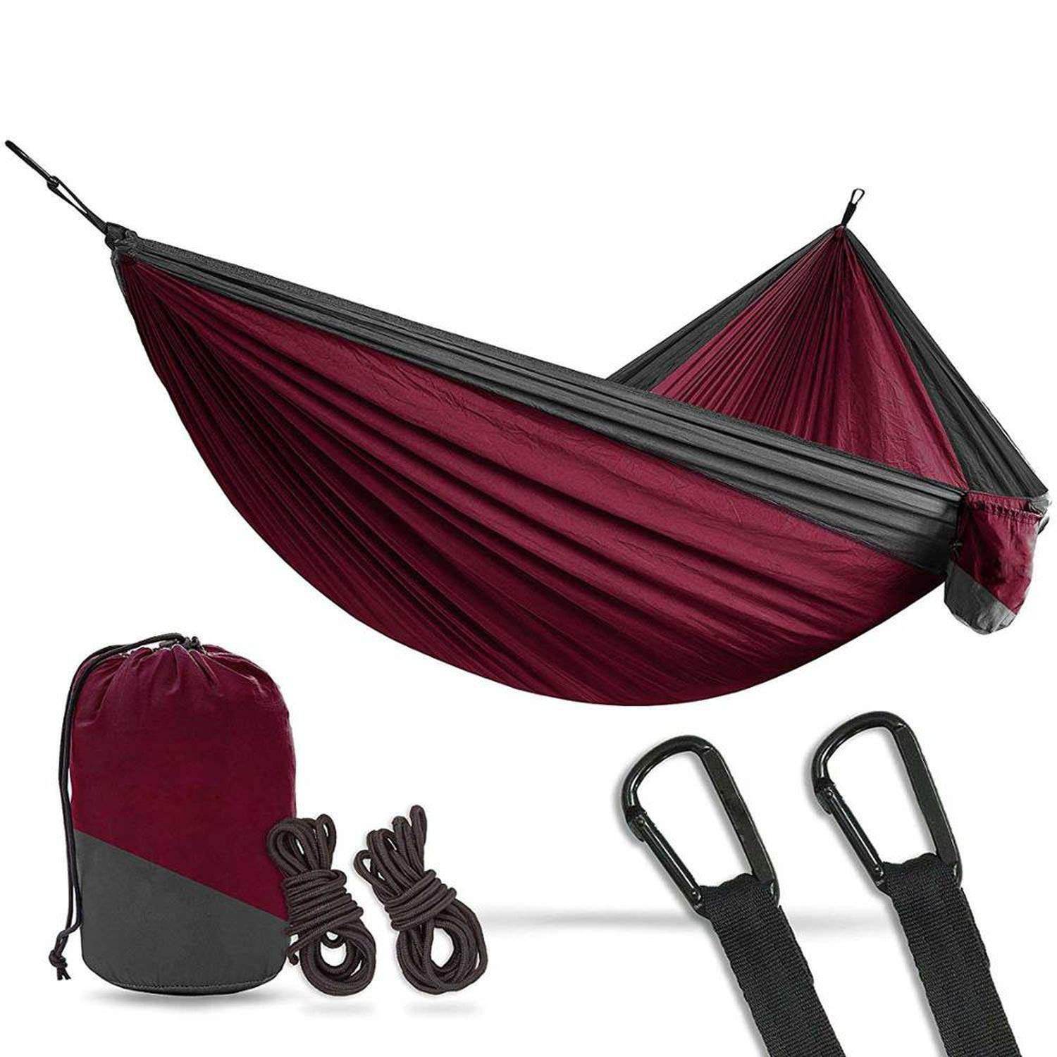 Maroon charcoal LiNever 2 Person Double Camping Hammock XL 10 Foot Nylon Portable Heavy Duty Holds 700Lb for Sitting Hanging